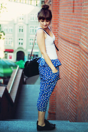 black romwe bag - white H&M top - blue romwe pants