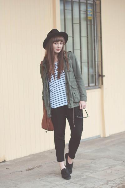 dark khaki H&M jacket - black Bershka pants