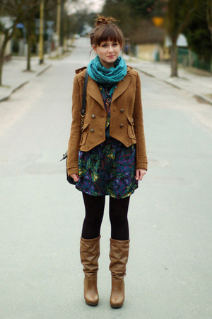 camel Zara jacket - bronze Zara boots - navy Romwecom dress