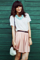 eggshell chicwishcom bag - cream H&M t-shirt - light blue pakamerapl necklace -
