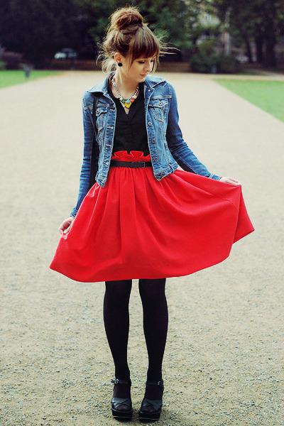 blue Stradivarius jacket - black romwe bag - red H&M skirt