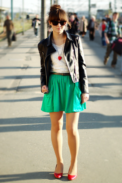 green Zara skirt - red Deichmann shoes - black Romwecom jacket