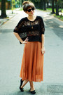 Burnt-orange-skirt-black-blouse
