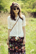 white H&M shirt - black vintage skirt