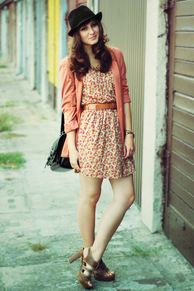 coral H&M blazer - camel Mango dress - black romwe bag
