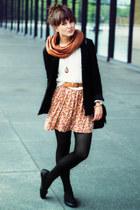 bronze H&M scarf - burnt orange Mango dress - black H&M blazer