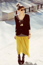 Black-oasap-cardigan-yellow-romwe-skirt