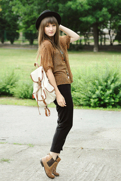 bronze pull&bear blouse - tawny La Redoute boots
