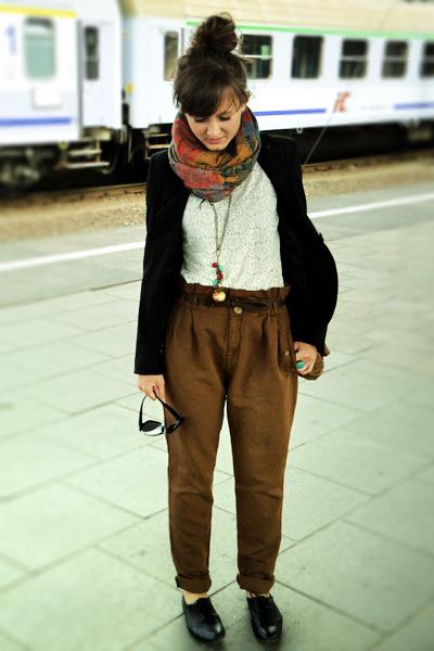 brown Zara pants - black Deichmann shorts