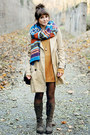 Brown-boots-cream-h-m-coat-blue-romwe-scarf