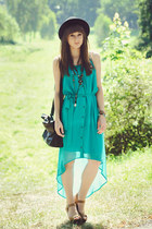 turquoise blue romwe dress - bronze La Redoute sandals