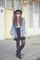 blue romwe jacket - heather gray new look bag