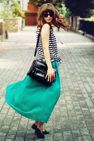 white H&M top - black romwe bag - teal romwe skirt