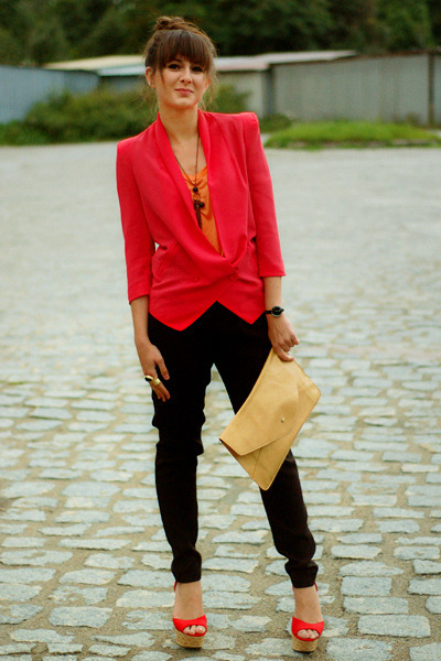 red romwe blazer - nude romwe bag - carrot orange lookbookstorecom top