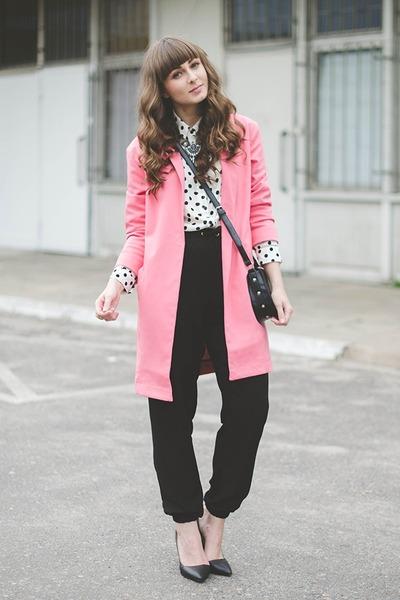 bubble gum La Redoute coat - black new look pants