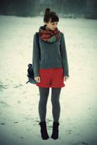 black Promod boots - gray H&M sweater