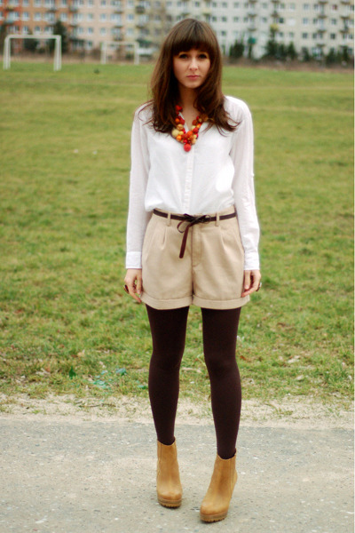 beige H&M shorts - bronze Stradivarius boots - orange DIY necklace