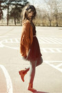 Bronze-la-redoute-boots-burnt-orange-romwe-cardigan