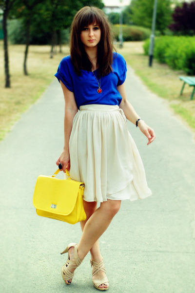 yellow Wholesale-Dress bag - blue Stradivarius top - cream Mango skirt