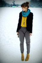 camel Stadivarius boots - heather gray Zara pants - mustard H&M top