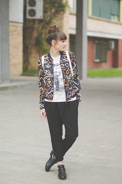 white new look bag - black Bershka pants