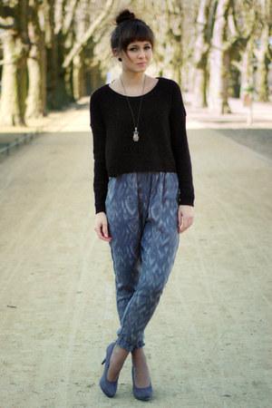 charcoal gray Deichmann heels - black H&M sweater - heather gray H&M Kids pants