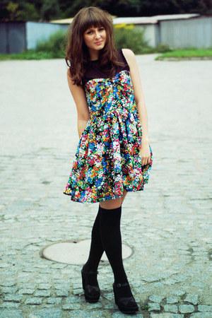 black H&M socks - blue Chicwish dress - black bronx sandals