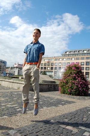 navy H&M shoes - light blue Jeans Club shirt - camel New Yorker pants