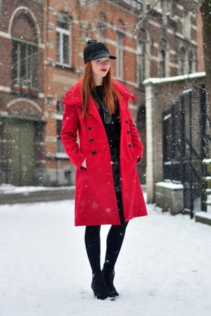 red L&amp;L coat - black Topshop boots - black pompom asos hat - black H&amp;M sweater