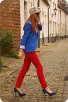 blue Stradivarius blazer - eggshell thrifted vintage scarf - red H&M pants