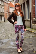 magenta floral print H&M leggings - black leather new look jacket