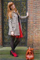 red unknown shoes - camel H&M coat - tawny handmade bag - red Zara skirt