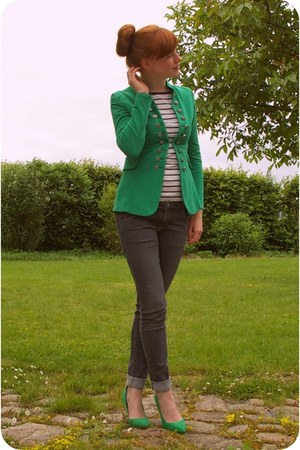 green military jacket - gray H&amp;M jeans - green Zara heels