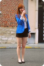 blue Stradivarius blazer - black H&M shorts - ivory striped H&M top