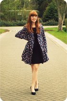 navy Topshop coat - black Zara dress - black new look heels