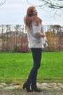 Silver-faux-fur-handmade-coat-black-topshop-boots-navy-h-m-jeans