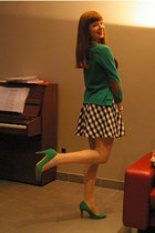 green Forever21 cardigan - H&M skirt - green Zara heels