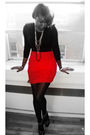 Black-h-m-top-red-h-m-skirt-silver-aldo-shoes-black-american-apparel-tight