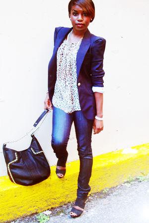blue Zara blazer - white Zara top - black Zara bag - blue Nessi Jeans jeans - bl