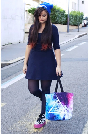H&M dress - Forever 21 hat - Sheinside bag - Jeffrey Campbell sneakers