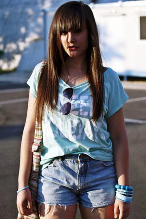 aquamarine New Yorker shirt - sky blue vintage jeans - gray H&M Trend sunglasses