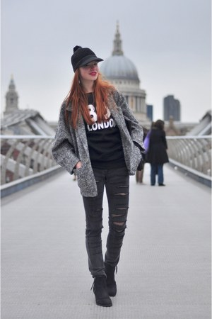 black Topshop boots - black DIY jeans - black pompom asos hat