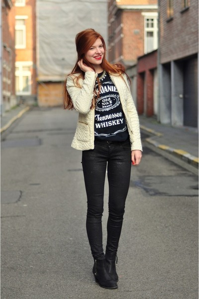 navy Jack Daniels t-shirt - black Topshop boots - black glitter H&M jeans