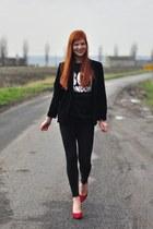 black Boy London sweater - black Zara leggings - black vintage blazer