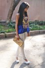 White-mango-jeans-gold-sequins-accessorize-bag-sheer-blue-busy-bee-top