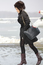 crimson mac boots - black Burberry jacket - navy Chanel bag