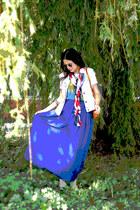 blue Top Shop dress - vintage scarf - Burberry flats