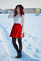 black Call it Spring boots - black Ebay hat - red homemade skirt