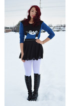 black Ebay boots - blue Ebay sweater - black Ebay skirt - silver Forever 21 belt