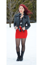 black Ebay boots - black Suzy Shier jacket - red Forever 21 skirt